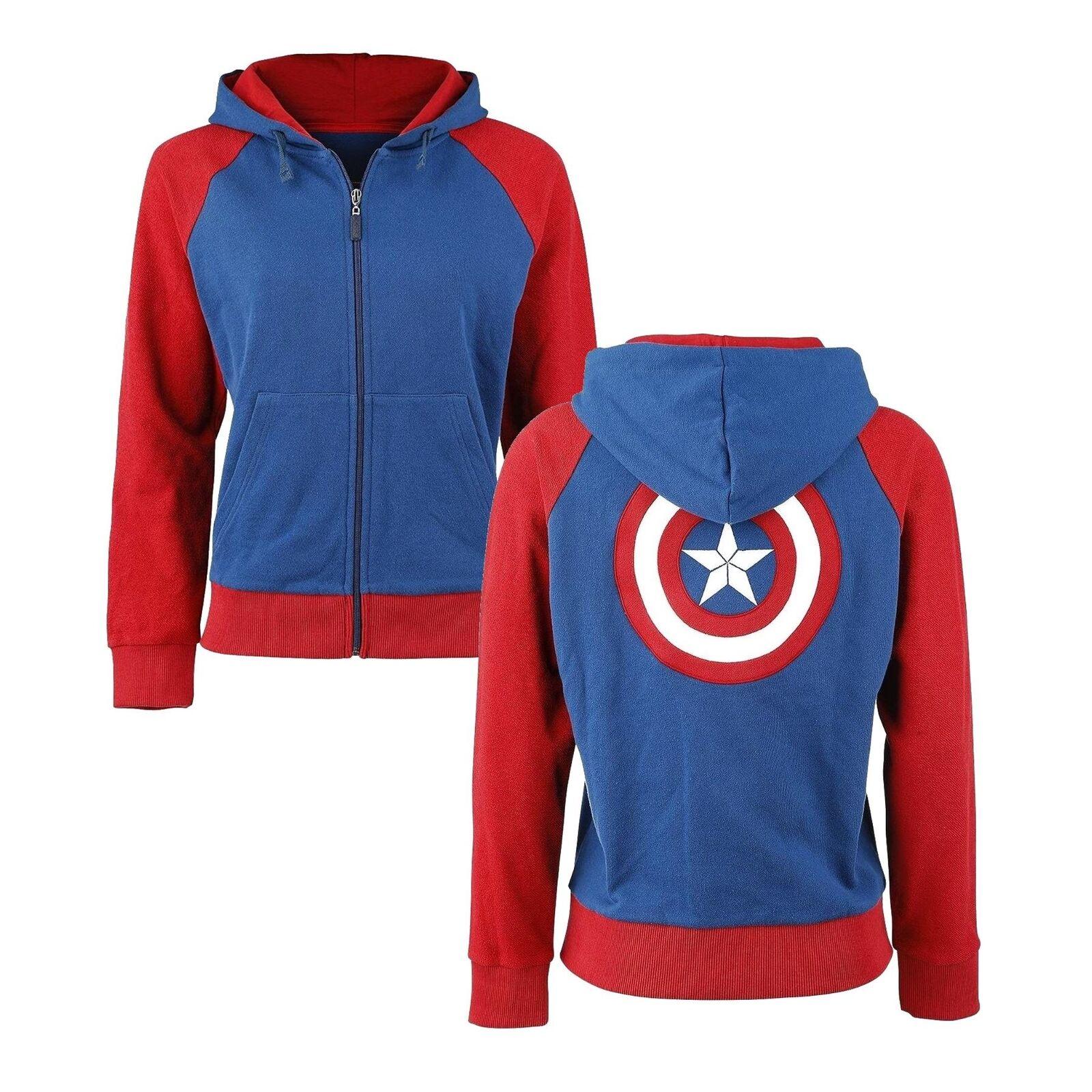 Marvel Avengers Captain America Shield Womens Hoodie Zip Up Ladies Hooded Jumper