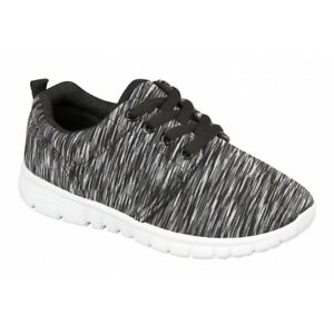 Shumo RELAY Unisex Kids Boys Girls Junior Lace Up Casual Trainers Black Grey