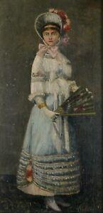 Jeune-femme-a-l-039-eventail-1883-Huile-sur-Bois-Signe-a-identifier