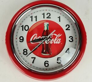 Retro-Diner-Styled-Coca-Cola-Round-Red-Metal-Wall-Clock-Coke-Tested-Working