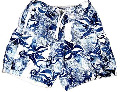 GERONIMO Mens Swimming Shorts Floral Cargo Swim Shorts Mindo Blue Flowered