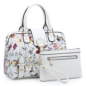 Dasein-Women-Handbag-Croco-Flower-Satchel-Shoulder-Bag-Purse-Matching-Pouch