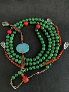 Antique-Collect-Green-jade-RedTurquoise-Minister-Official-Chaozhu-beads-Necklace