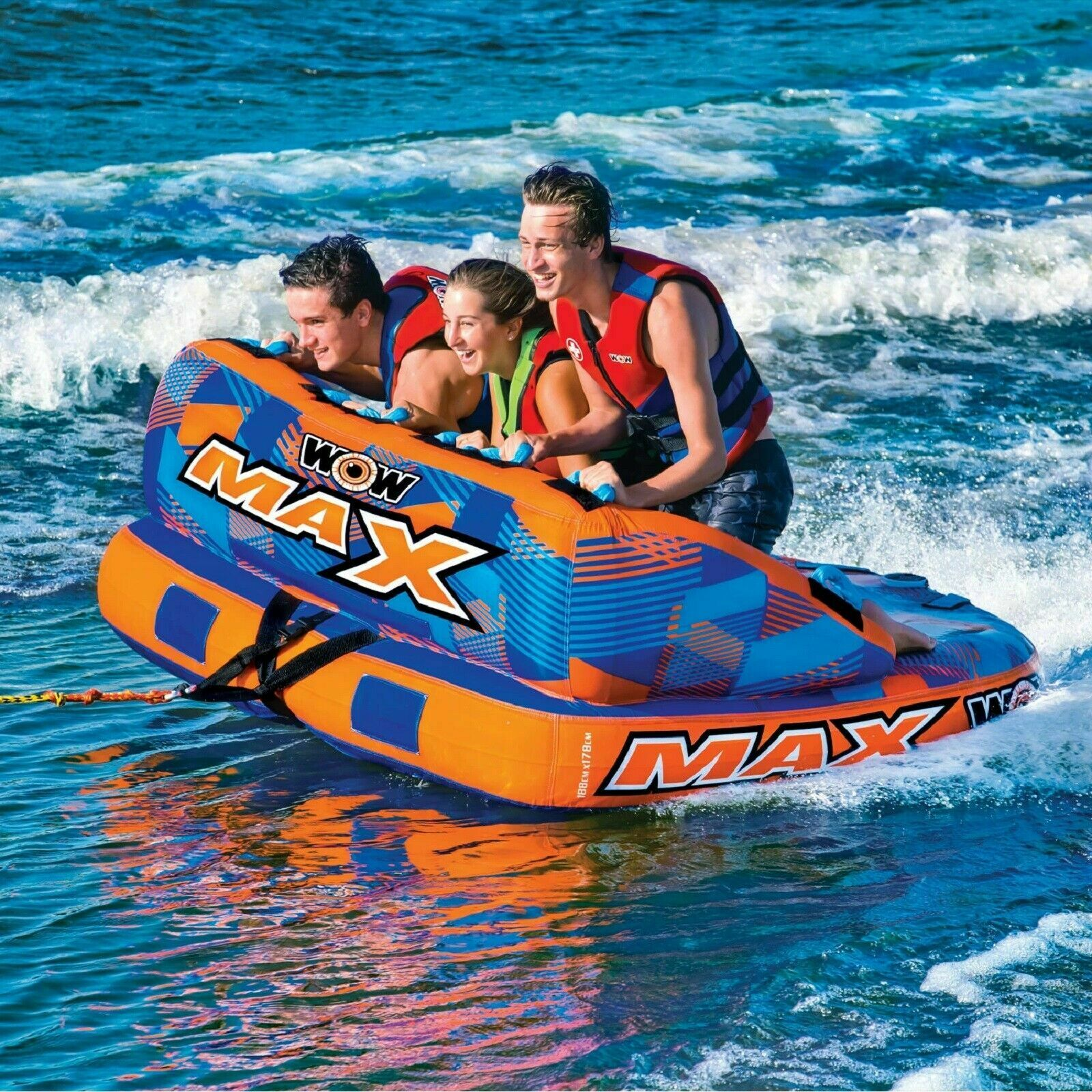 Image 2 - WOW MAX 1, 2 or 3 Person Inflatable Towable Tube Boat Water Raft Float FAST SHIP