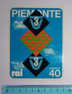 ADESIVO STICKER VINTAGE AUTOCOLLANT AUFKLEBER PIEMONTE RAI TV3 ANNI'80 9×12 cm