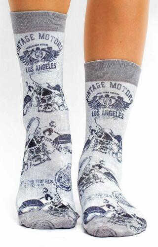 grau // weiß 36-40 wigglesteps Socken Vintage Motors Harley Motorrad Bike