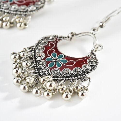 Retro Enamel Flower Bohemian Drop Earrings for Women Earrings Gifts C