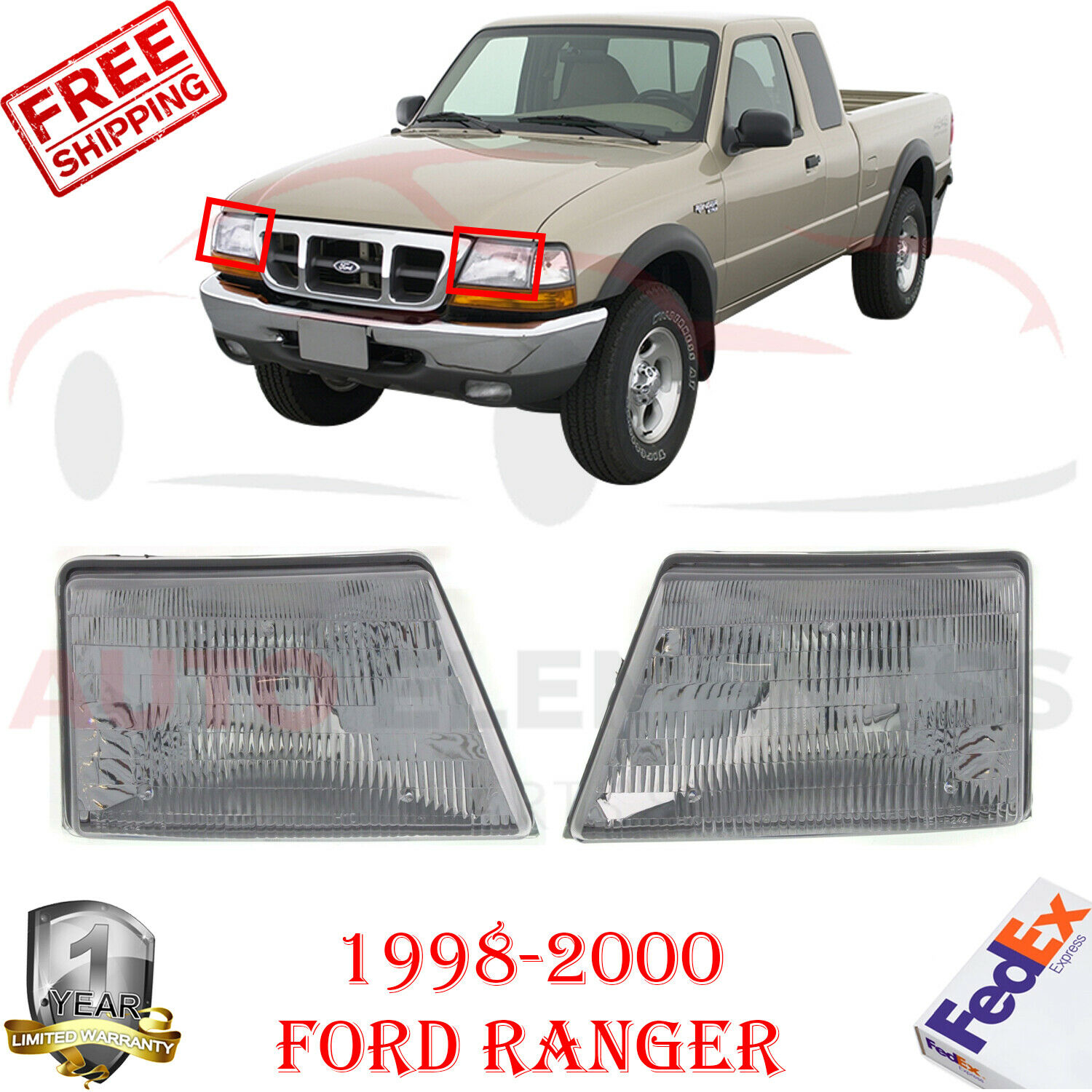 Headlight Assembly Compatible with 1998-2000 Ford Ranger Halogen Passenger and Driver Side
