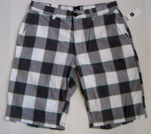 GAP Men/'s White//Gray Check Plaid Flat Front Short Waist Sizes 38 NWT