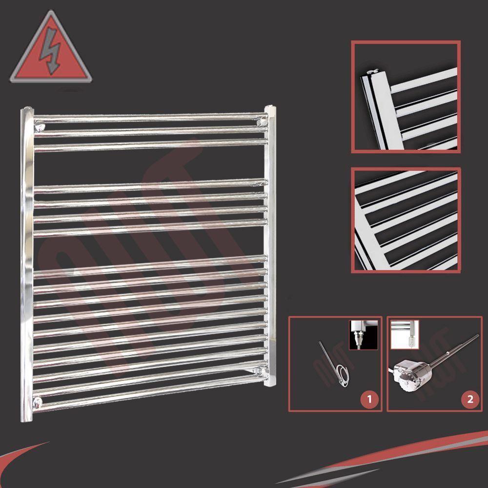 900mm (w) x 900mm (h) droite chrome porte-serviettes radiateur électrique - 400w ou 600w