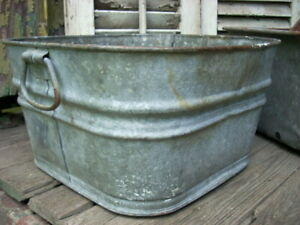 Details About Vintage 1930s Wheeling 6a Galvanized Metal Wash Tub Bucket Planter 14 Square