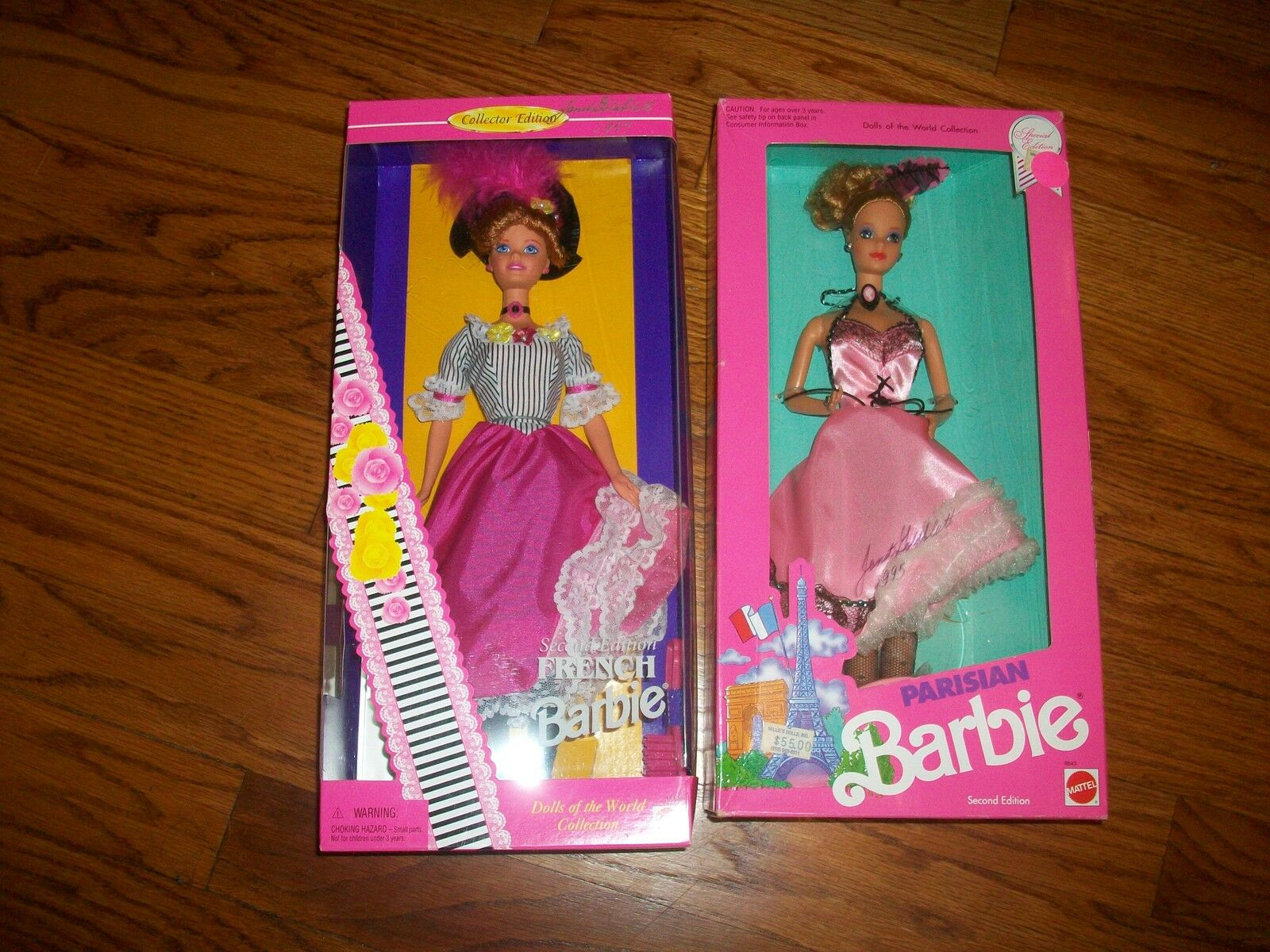 Lote de 2 Muñecas Barbie francesa del mundo 1997 & parisino Barbie ambos firmados