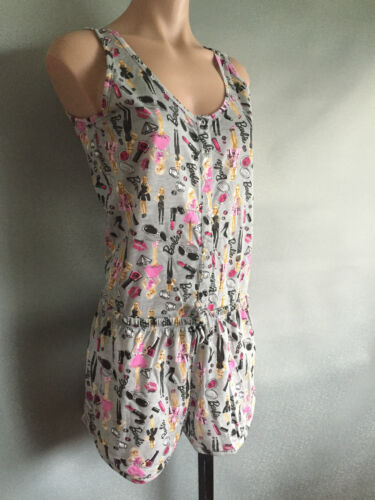 BNWT Ladies//Teenage Girl Sz 8//10 Cute Barbie Print Stretch Summer One Pc Pyjamas