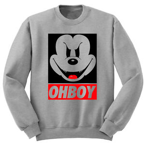 evil mickey mouse ohboy grey sweater obey disney jumper
