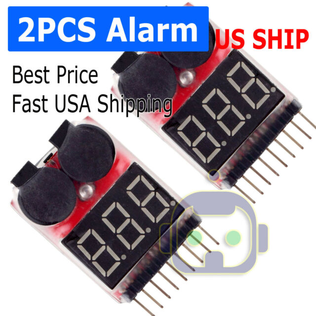 2X RC Lipo Battery Low Voltage Alarm 1S-8S Buzzer Indicator Checker Tester LED