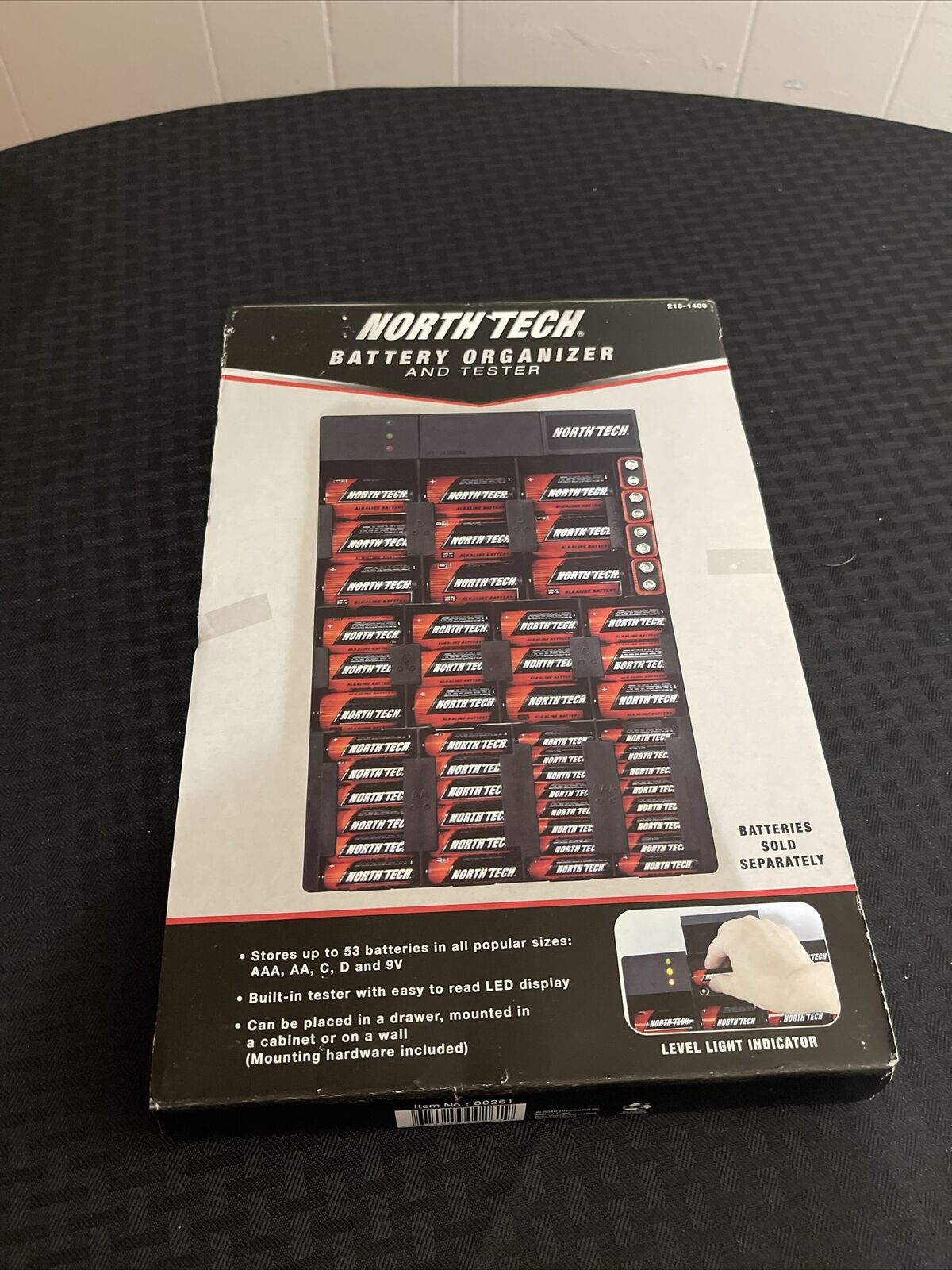 NORTH TECH BATTERY ORGANIZER AND TESTER Stores up to 53 batteries New