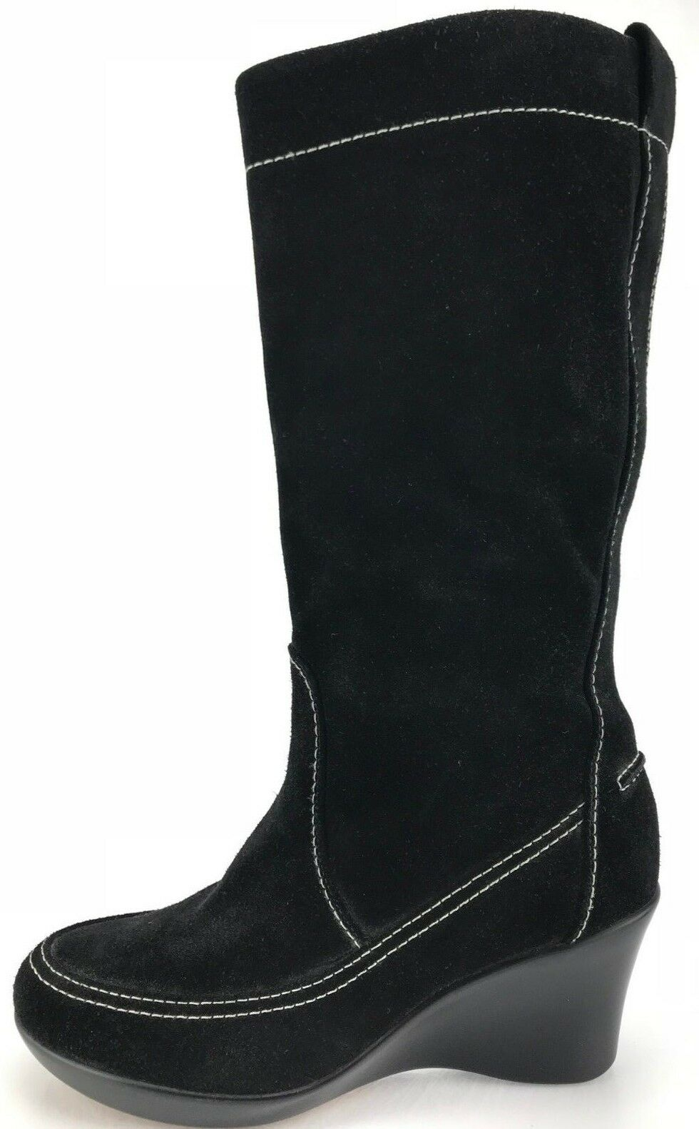 Offriamo vari marchi famosi You by Crocs stivali Pull Up Suede Knee High High High Fashion Wedge scarpe donna 6.5 nero  nuovo di marca