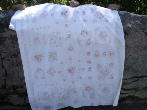 Lecien Durham Quilt Collection Faded Rose Motifs on Cream Cotton Fabric  HTF