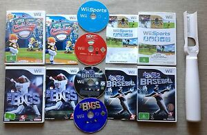 Wii-4-GAME-BASEBALL-BUNDLE-LITTLE-LEAGUE-BIGS-1-amp-2-SPORTS-BASEBALL-BAT