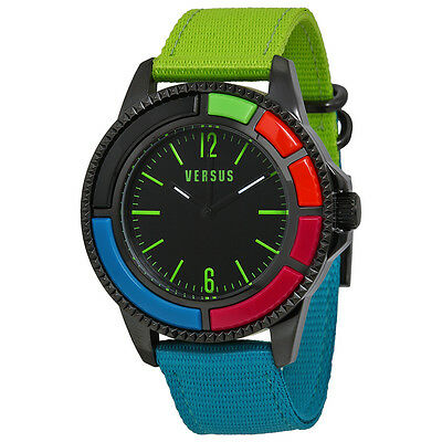 Versus By Versace Tokyo Black Dial Blue and Green Canvas Ladies Watch SGM140014