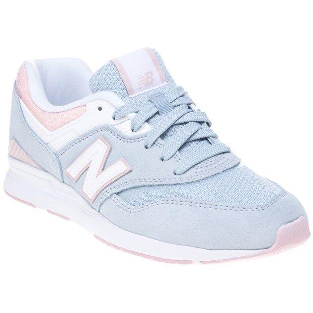 New Wo Hommes New Balance Pale bleu Pink 697 Textile Trainers Retro Lace Up