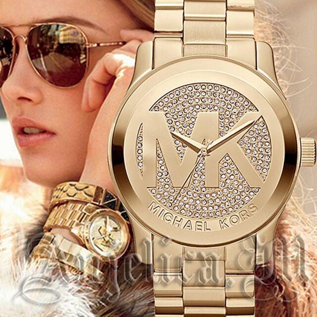 Original Michael Kors uhr damenuhr mk5706 runway xxl farbe gold kristall neu