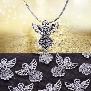 20X-Antiksilber-Engel-Anhaenger-Halsketten-Pendant-Schmuck-Zubehoer-Charms-Perlen