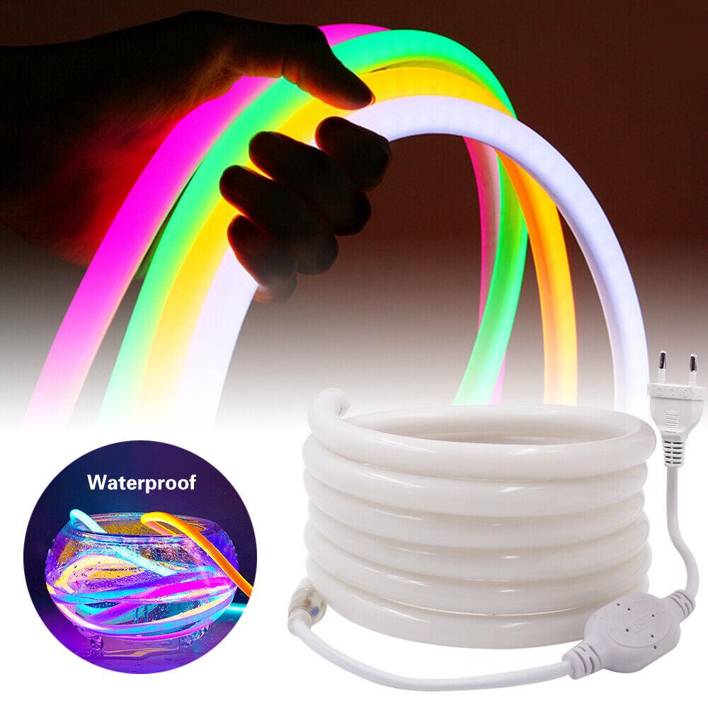 1-100m 2835 SMD Neon LED Strip Streifen Wasserdicht Schlauch Lichtleiste Weiß DE