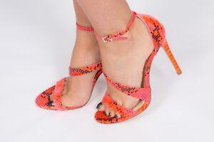 d75b5f28b Sexy neon pink snakeskin strappy heels size 6 by Shoe Box wedding ...