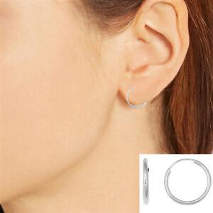 Details About 14k White Gold Endless Hoop Hoops Earrings 12mm