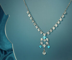 ART-DECO-Necklace-1930s-Open-Back-CRYSTALS-15-75-034-Choker-12k-WHITE-GOLD-Fill-FAB