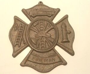 FIREMAN-Fire-House-Embossed-Cast-Iron-Metal-Shield-Cross-Plaque-Truck-ManCave