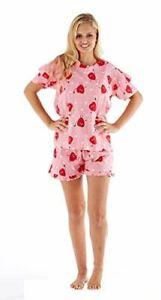 Bien Informé Uk Femmes Femmes 2 Pièce Coton Pyjama Ensemble T-shirt Tops + Short Nightwear-afficher Le Titre D'origine