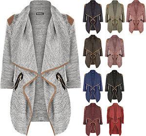 New-Womens-Knitted-Open-Zip-Pocket-Long-Sleeve-Shoulder-Top-Ladies-Cardigan