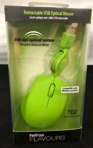 ReTrak-Flavours-Retractable-USB-Optical-Mouse-800-dpi-Sensor-2-6-ft-cord-Green