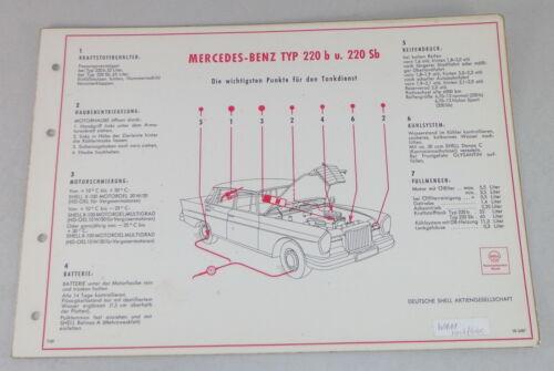 220 Sb W111 Heckflosse Stand 07//1960 Shell Schmierplan für Mercedes Benz 220 b