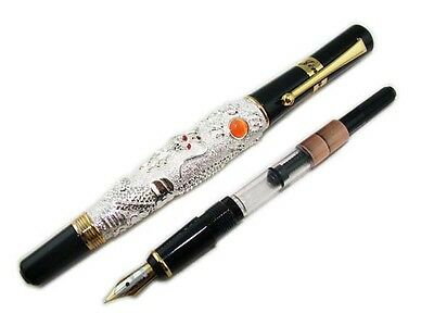 Jinhao Dragon Fountain Pen Silver Color Medium Nib Vintage Pens Calligraphy Pen
