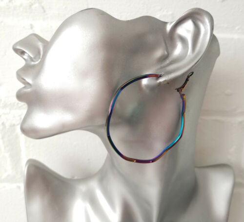 oil spill metalic oversized WAVY style hoop earrings Gorgeous 6cm irredescent