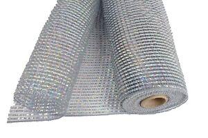 "10"" IRIDESCENT SILVER Solid Metallic Stripes Deco Flexible Mesh 3 Yards"