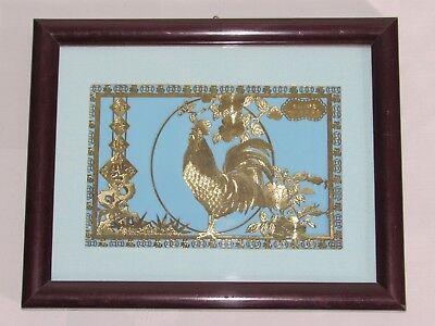 Begeistert 04e1 Jolie Gravur Durchbrochen Hahn Art Chinesisch Unter Rahmen Gold- -blatt 24