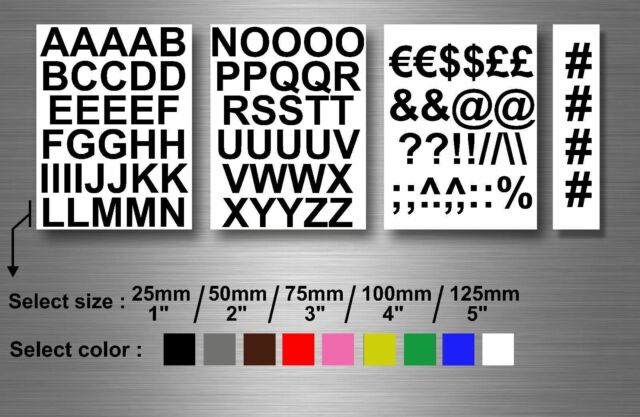 Self adhesive stickers numbered vinyl letters alphabet ABC UPPER 1 2 3 4 5'' car