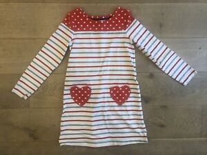 Girls Mini Boden Long Sleeve Striped Heart Pocket Dress