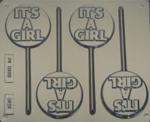 MOULD SOAP,CLAY,MOULD MOULDS 3 CAV ITS A GIRL CHOCOLATE LOLLIPOP
