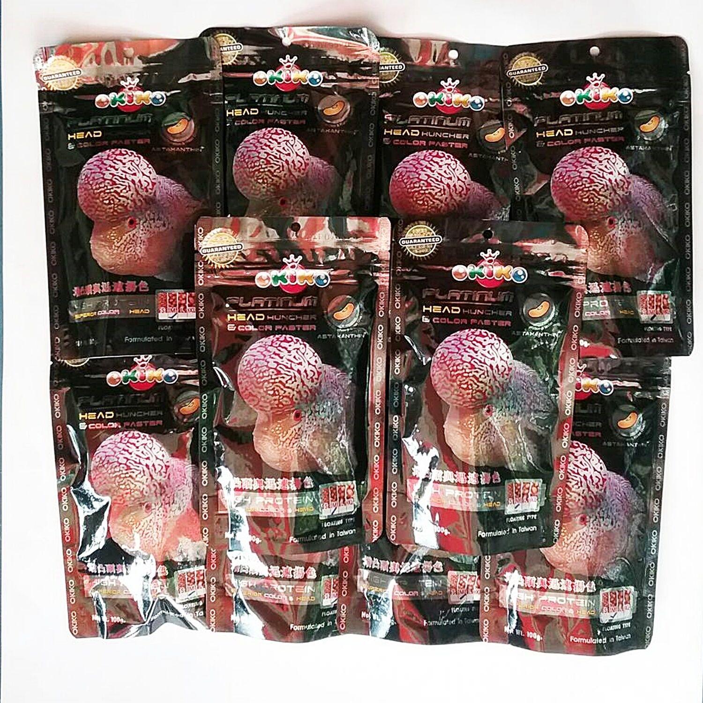 Okiko Fish Food Cichlid Flowerhorn Floating Pellets Platinum Big Head 12 x 100 g