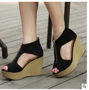 66c401608287 Image is loading Womens-ladies-Summer-Korean-Wedge-high-Heels-Peep-