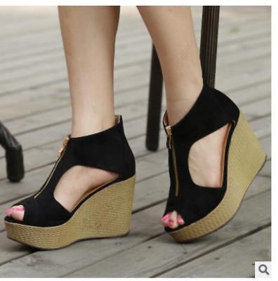 Womens Ladies Summer Korean Wedge High Heels Peep Toe Platform Sandals Shoes   eBay