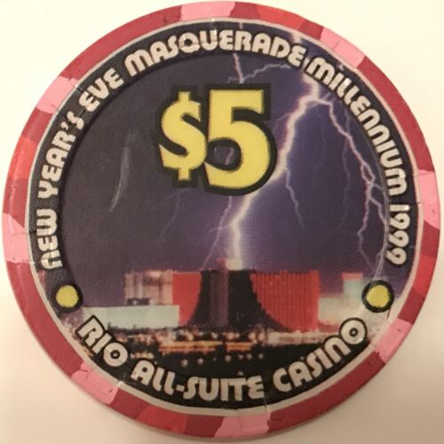 Blackjack Millennium 2000 Las Vegas -Poker $5 Rio Casino Chip Roulette