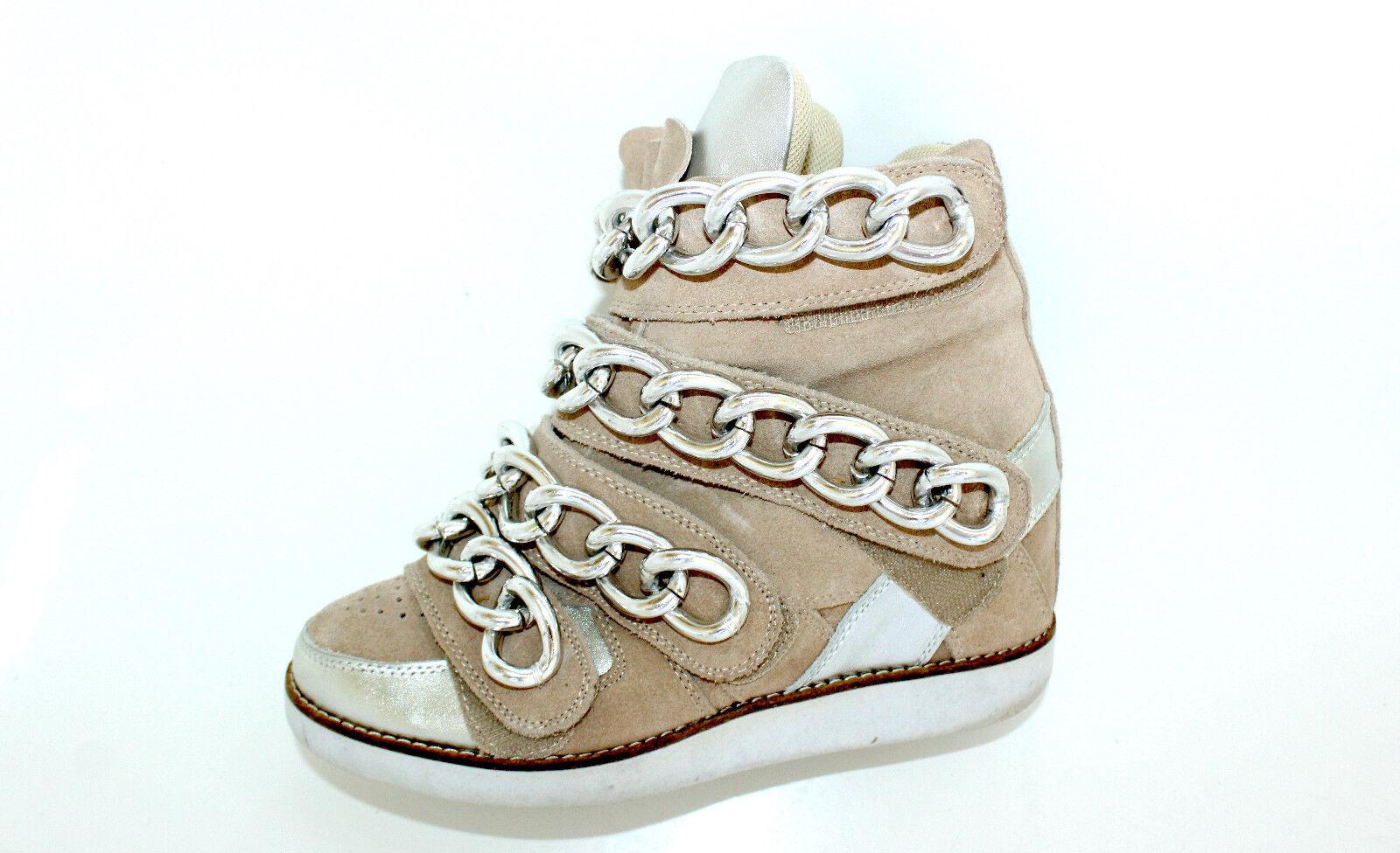 Jeffrey Campbell Beige Chaînes bottes bottines bottes 35 UK 3 Cuir Velcro COMPENSES Top