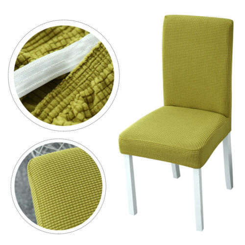 Dining Chair Seat Covers Plaid Polar Fleece Thickened ElasticDust-proof Protect