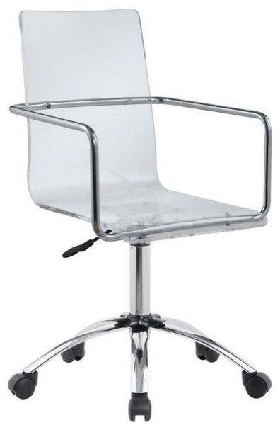 Genial Modern Home Office Swivel Chair Adjustable Height Clear Acrylic Steel Base  Wheel   EBay